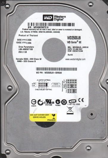 WD2500JB-00REA0, DCM DSCACTJCAN, Western Digital 250GB IDE 3.5 Hard Drive