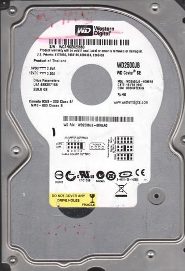 WD2500JB-00REA0, DCM HBBHNT2AHN, Western Digital 250GB IDE 3.5 Hard Drive