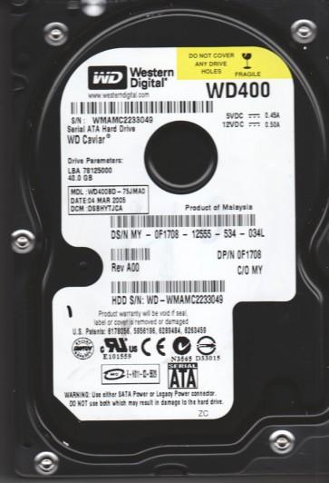 WD400BD-75JMA0, DCM DSBHYTJCA, Western Digital 40GB SATA 3.5 Hard Drive