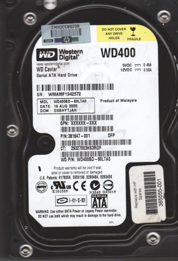 WD400BD-60LTA0, DCM DSBHYTJAH, Western Digital 40GB SATA 3.5 Hard Drive