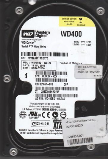 WD400BD-60LTA0, DCM HSBACTJCA, Western Digital 40GB SATA 3.5 Hard Drive