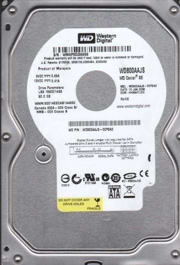 WD800AAJS-00PSA0, DCM HHNNHTJCG, Western Digital 80GB SATA 3.5 Hard Drive