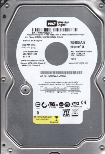 WD800AAJS-00PSA0, DCM EANCNTJCA, Western Digital 80GB SATA 3.5 Hard Drive