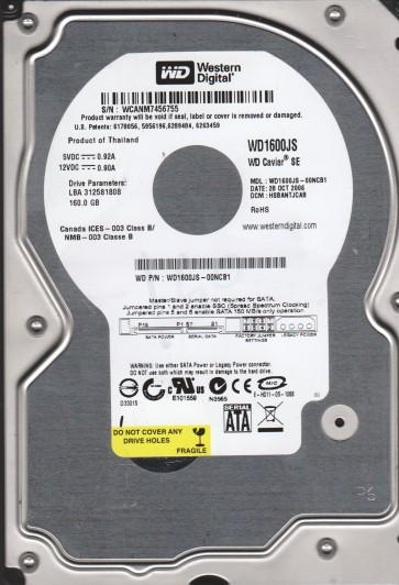 WD1600JS-00NCB1, DCM HSBANTJCAB, Western Digital 160GB SATA 3.5 Hard Drive