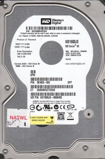 WD1600JS-60MHB5, DCM HBBHNT2CHB, Western Digital 160GB SATA 3.5 Hard Drive