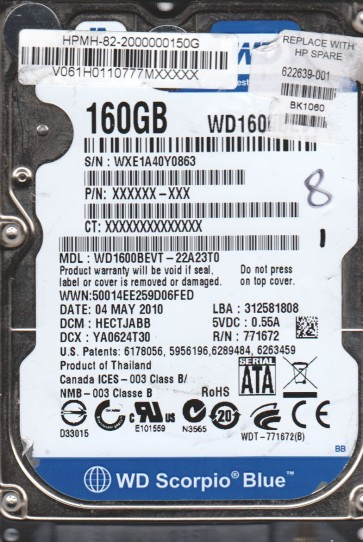 WD1600BEVT-22A23T0, DCM HECTJABB, Western Digital 160GB SATA 2.5 Hard Drive