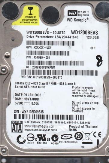 WD1200BEVS-60UST0, DCM HBYTJBBB, Western Digital 120GB SATA 2.5 Hard Drive
