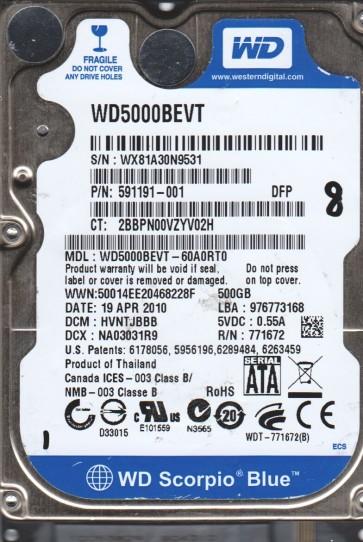 WD5000BEVT-60A0RT0, DCM HVNTJBBB, Western Digital 500GB SATA 2.5 Hard Drive