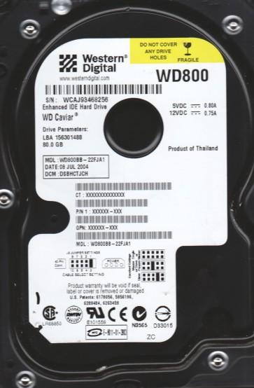 WD800BB-22FJA1, DCM DSBHCTJCH, Western Digital 80GB IDE 3.5 Hard Drive