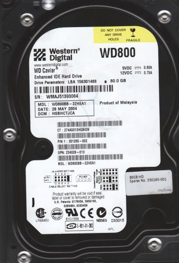 WD800BB-22HEA1, DCM HSBHCTJCA, Western Digital 80GB IDE 3.5 Hard Drive