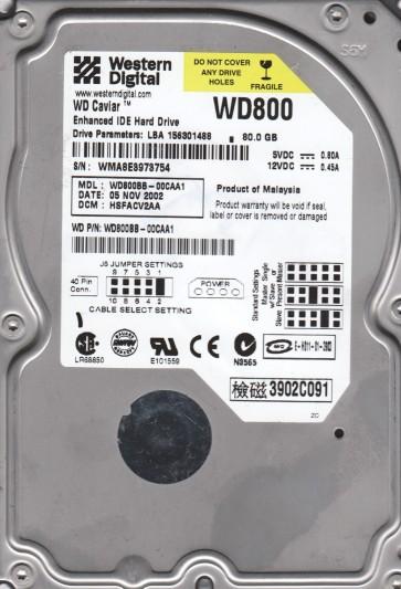WD800BB-00CAA1, DCM HSFACV2AA, Western Digital 80GB IDE 3.5 Hard Drive