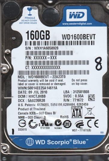 WD1600BEVT-22A23T0, DCM HHCTJHBB, Western Digital 160GB SATA 2.5 Hard Drive