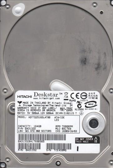 HDT722516DLAT80, PN 0A31332, MLC BA1769, Hitachi 164GB IDE 3.5 Hard Drive
