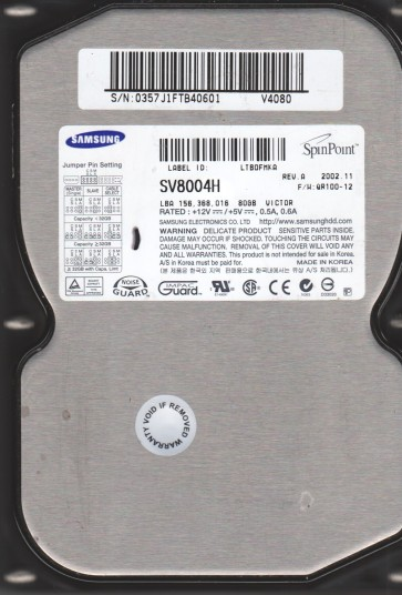 SV8004H, FW QR100-12, A, Samsung 80GB IDE 3.5 Hard Drive