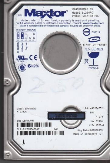 6L250R0, Maxtor 250GB Code BAH41G10 [KGBA] IDE 3.5 Hard Drive