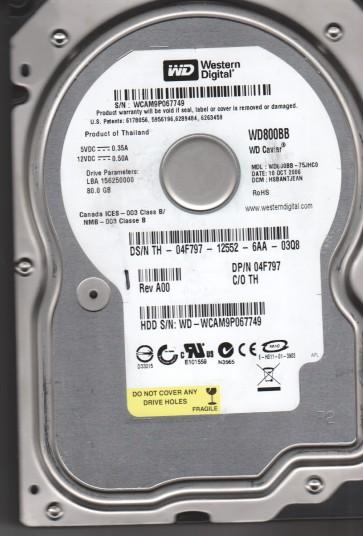 WD800BB-75JHC0, DCM HSBANTJEAN, Western Digital 80GB IDE 3.5 Hard Drive