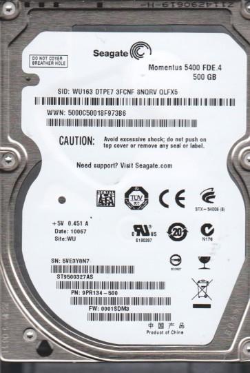 ST9500327AS, 5VE, WU, PN 9PR134-500, FW 0001SDM3, Seagate 500GB SATA 2.5 Hard Drive