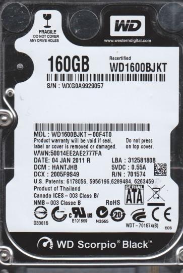 WD1600BJKT-00F4T0, DCM HANTJHB, Western Digital 160GB SATA 2.5 Hard Drive