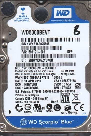 WD5000BEVT-60A0RT0, DCM HBNTJHB, Western Digital 500GB SATA 2.5 Hard Drive