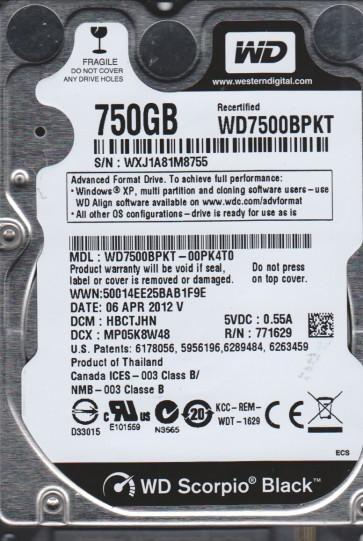 WD7500BPKT-00PK4T0, DCM HBCTJHN, Western Digital 750GB SATA 2.5 Hard Drive
