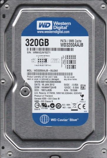WD3200AAJB-00J3A0, DCM HANNHT2AHB, Western Digital 320GB IDE 3.5 Hard Drive