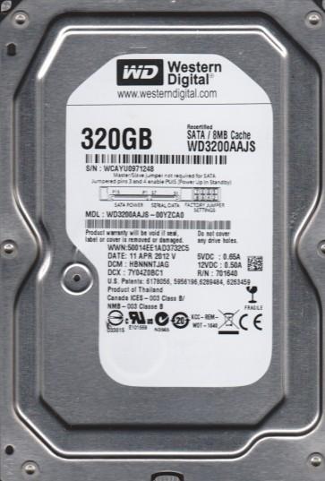 WD3200AAJS-00YZCA0, DCM HBNNNTJAG, Western Digital 320GB SATA 3.5 Hard Drive