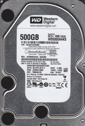 WD5000AAKS-00D2B0, DCM EGRNHT2MG, Western Digital 500GB SATA 3.5 Hard Drive