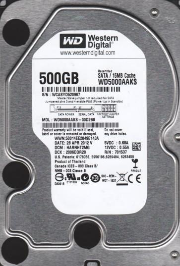 WD5000AAKS-00D2B0, DCM HARNHT2MG, Western Digital 500GB SATA 3.5 Hard Drive