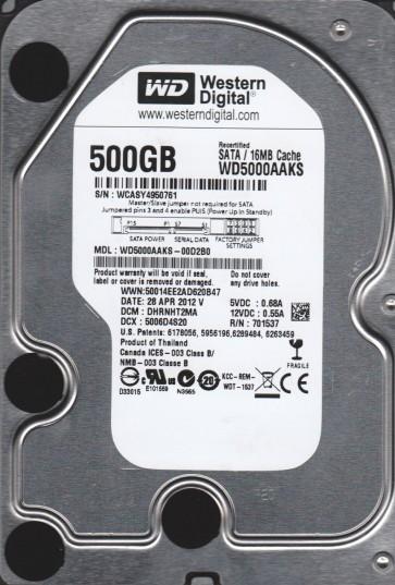 WD5000AAKS-00D2B0, DCM DHRNNHT2MA, Western Digital 500GB SATA 3.5 Hard Drive