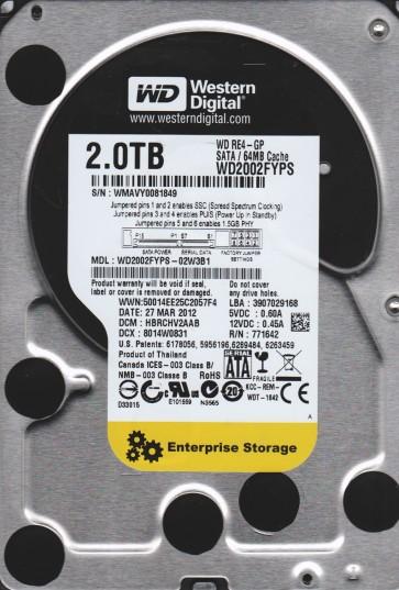 WD2002FYPS-02W3B1, DCM HBRCHV2AAB, Western Digital 2TB SATA 3.5 Hard Drive