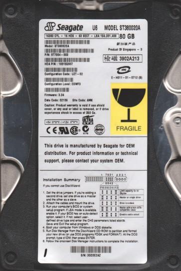 ST380020A, 3GC, AMK, PN 9T7004-003, FW 3.34, Seagate 80GB IDE 3.5 Hard Drive