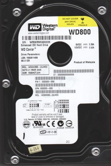 WD800BB-22JHC0, DCM HSBHCTJAH, Western Digital 80GB IDE 3.5 Hard Drive