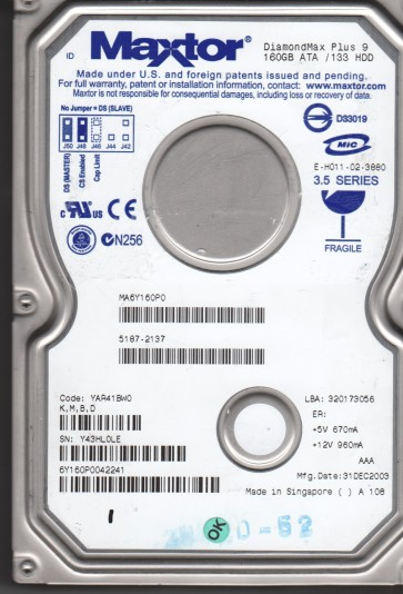 6Y160P0, Code YAR41BW0, KMBD, Maxtor 160GB IDE 3.5 Hard Drive