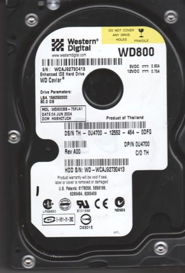 WD800BB-75FJA1, DCM HSBHCTJCH, Western Digital 80GB IDE 3.5 Hard Drive