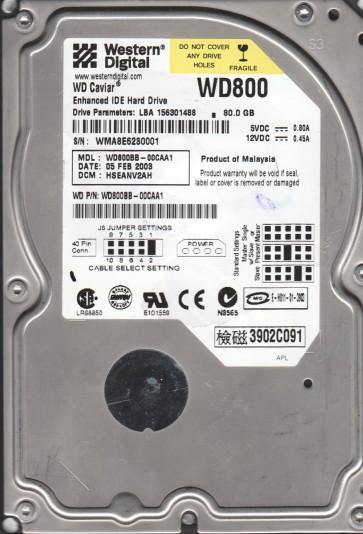 WD800BB-00CAA1, DCM HSEANV2AH, Western Digital 80GB IDE 3.5 Hard Drive