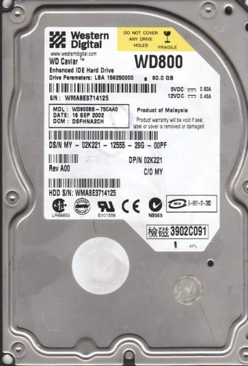 WD800BB-75CAA0, DCM DSFHNA2CH, Western Digital 80GB IDE 3.5 Hard Drive