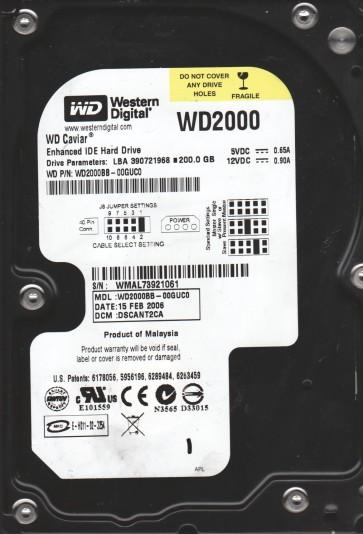 WD2000BB-00GUC0, DCM DSCANT2CA, Western Digital 200GB IDE 3.5 Hard Drive