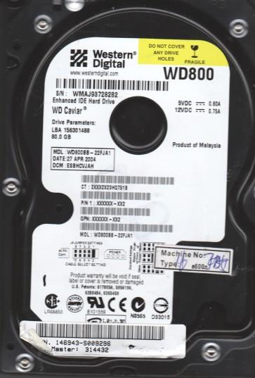 WD800BB-22FJA1, DCM ESBHCVJAH, Western Digital 80GB IDE 3.5 Hard Drive