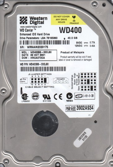 WD400BB-00CLB0, DCM HRCAET2CA, Western Digital 40GB IDE 3.5 Hard Drive