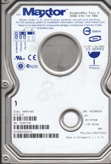 6Y080P0, Maxtor 80GB Code YAR41VW0 [NGBD] IDE 3.5 Hard Drive
