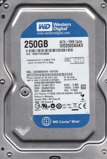WD2500AAKX-001CA0, DCM DGNNHT2AG, Western Digital 250GB SATA 3.5 Hard Drive