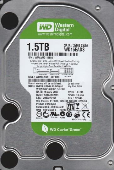 WD15EADS-00P8B0, DCM HARCHT2MH, Western Digital 1.5TB SATA 3.5 Hard Drive