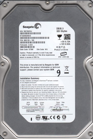 ST3320820SCE, 5QF, WU, PN 9BK13G-180, FW 3.ACE, Seagate 320GB SATA 3.5 Hard Drive