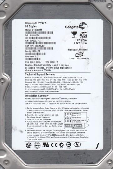 ST380011A, 4LH, TK, PN 9W2003-371, FW 8.01, Seagate 80GB IDE 3.5 Hard Drive