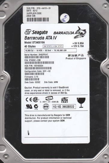 ST340016A, 3HS, AMK, PN 9T6002-038, FW 3.10, Seagate 40GB IDE 3.5 Hard Drive