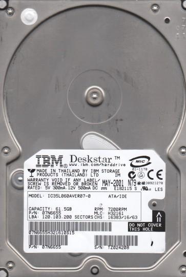IC35L060AVER07-0, PN 07N6655, MLC H32161, IBM 60GB IDE 3.5 Hard Drive