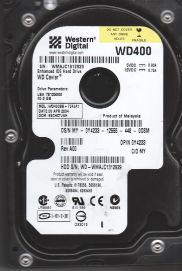 WD400BB-75FJA1, DCM ESCHCTJAH, Western Digital 40GB IDE 3.5 Hard Drive