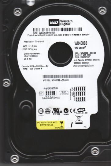 WD400BB-00JHC0, DCM DSCACTJCH, Western Digital 40GB IDE 3.5 Hard Drive