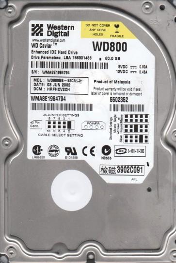 WD800BB-53CAA1, DCM HRFHCV2CH, Western Digital 80GB IDE 3.5 Hard Drive