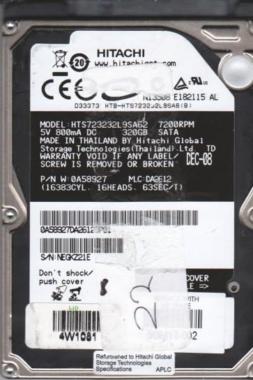 HTS723232L9SA62, PN 0A58927, MLC DA2612, Hitachi 320GB SATA 2.5 BSectr HDD